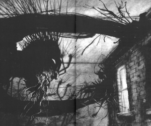art, black and white, and creepy image