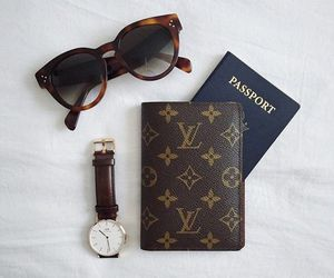 Louis Vuitton, passport, and travel image