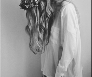 girl, flowers, and black and white image