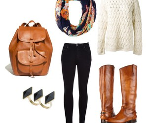 backpack, boots, and Polyvore image