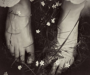 flowers, feet, and black and white image