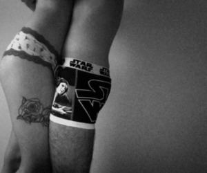 black and white, couple, and tattoo image
