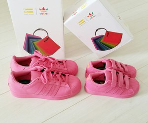 Pharrell Williams, pink, and adidas superstar image