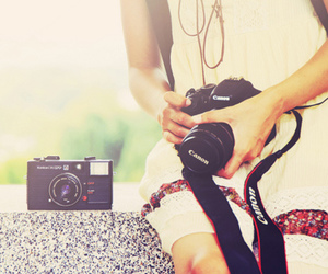 camera, canon, and girl image