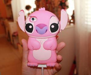 pink, iphone, and stitch image