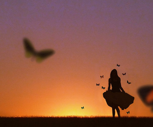 girl, sunset, and butterfly image