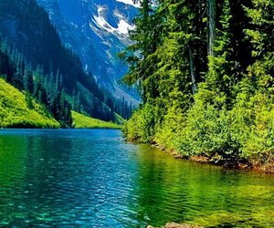 green, blue, and mountains image