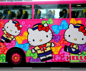 hello kitty, bus, and pink image