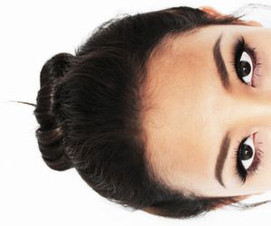eyes, bun, and hair image