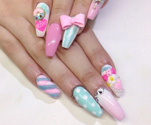 pink, cute, and nails image