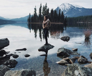 mountains, girl, and lake image