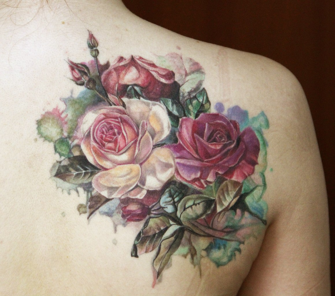 shoulder tattoo, flower tattoo, and floral tattoo image