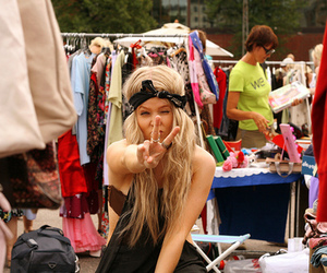 girl, blonde, and peace image