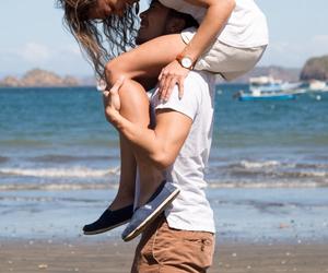 girl, kiss, and sea image