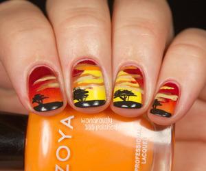 nails, nail art, and sunset image