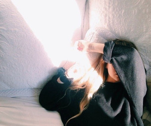 bed, sun, and fashion image