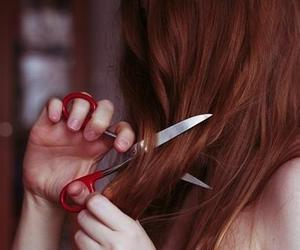 cutting, hair, and girl image