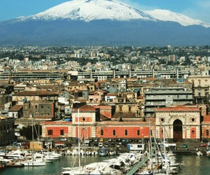 sicily, snow, and volcano image