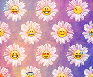 wallpaper, flowers, and emoji image