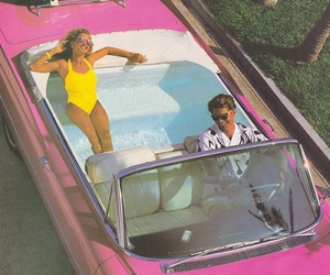 car, pink, and pool image