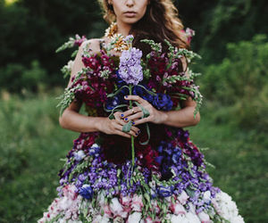Alexander McQueen, dress, and flowers image
