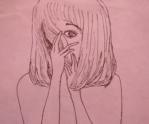 pink, girl, and art image