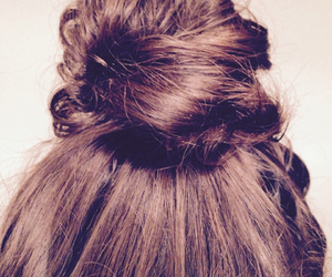 brunette, bun, and casual image