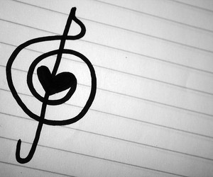 music, treble clef, and love image