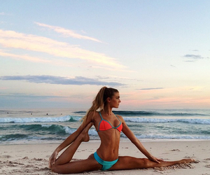 beach, girl, and fitness image