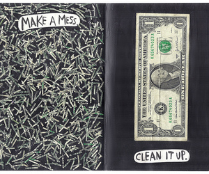 wreck this journal, dollars, and mess image