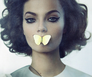 butterfly, hair, and model image