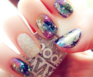 nails, galaxy, and glitter image