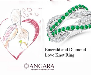 engagement rings, emerald ring, and love knot ring image