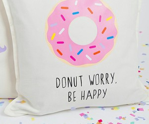 confetti, be happy, and donut pillow image