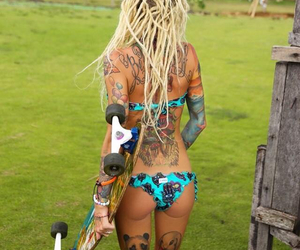 tattoo, dreads, and longboard image
