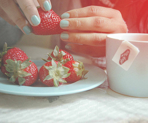 strawberry, tea, and food image