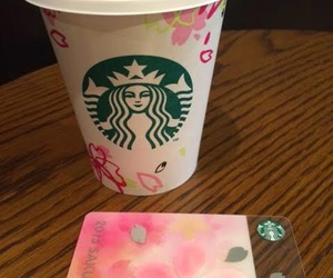 cherry blossom, coffee, and coffee cup image