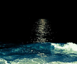 night, moon, and sea image