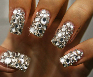 nails, diamond, and glitter image