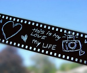 love, camera, and heart image
