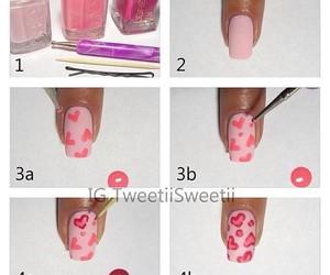 nails, tutorial, and hearts image