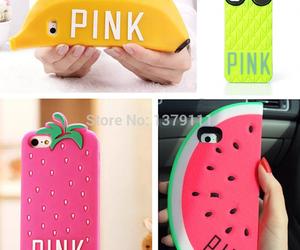 pink, banana, and fruit image