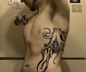 man, octopus, and tattoo image
