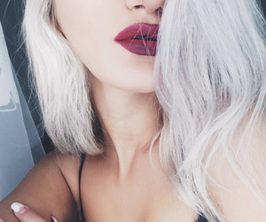 blonde, red lips, and hair image