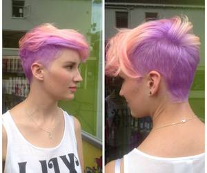 blond, girl, and haircut image