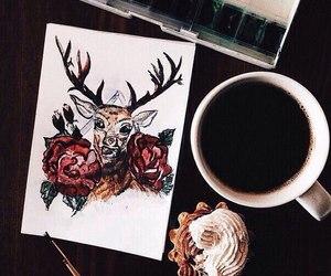 art, coffee, and deer image