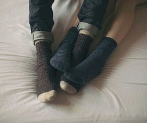 love, couple, and socks image