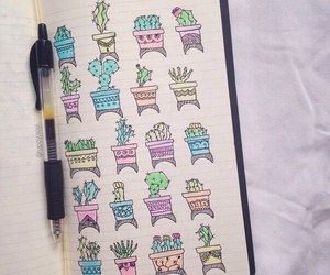 cactus, drawing, and sketchbook image