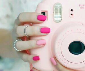 pink, nails, and camera image