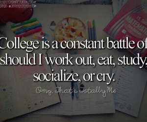 college, cry, and eat image